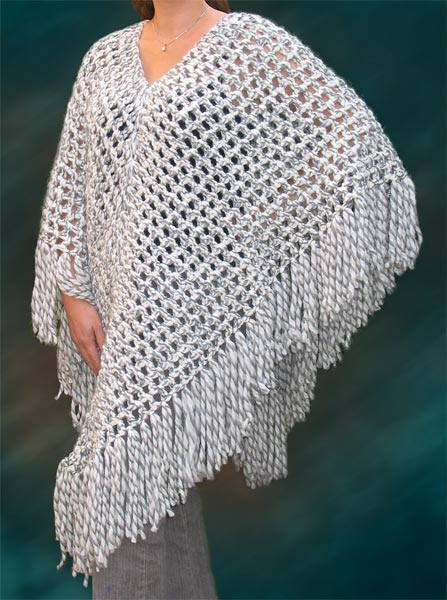 Free Knit  Crochet Poncho  Cap - free on-line knitting patterns