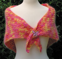 Crocheted Angora Shawl